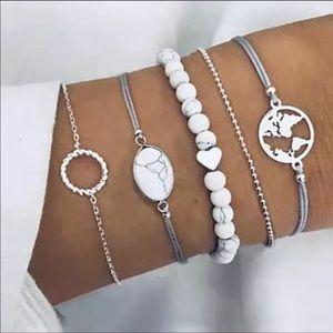 5PC BOHO Bracelet set world 🌎 heart ❤️